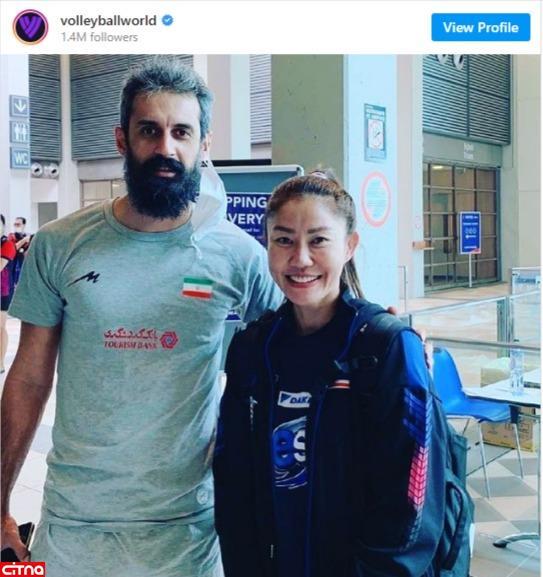 انتشار تصویر سعید معروف در کنار پاسور تیم زنان والیبال تایلند