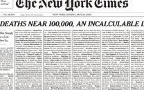 ۱۰۰۰ آگهی مرگ در صفحه نخست نیویورک تایمز