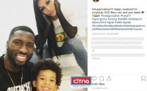 عکس/ مهاجم گینهای مد نظر استقلال در کنار همسر و پسرش
