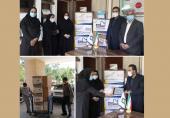 محموله نذر ماسک از طرف شرکت نیان الکترونیک، به بیمارستان سجادیه تربت جام اهدا شد